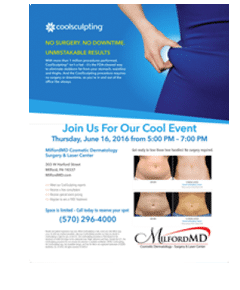 , Only Days before MilfordMD June CoolEvent, Featuring CoolSculpting