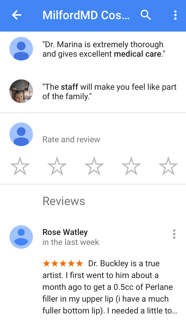 Rate MilfordMD on Google Maps