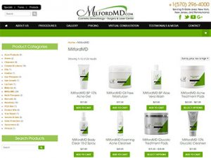 MIlfordMD.com Products Page Screenshot