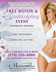 Poster for Free Botox and CoolSculpting Event at MilfordMD
