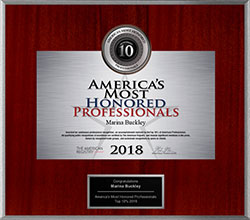 2018 America's Most Honored Professional Awarded to Dr. Marina Buckley