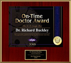 2018 Vitals On-Time Doctor Awarded to Dr. Richard Buckley