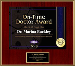 2018 Marina Buckley Vitals On-Time Doctor Award