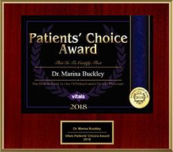 2018 Marina Buckley Vitals Patients Choice Award