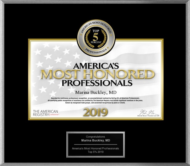 Marina Buckley MD America's Most Honored Professionals 2019 - Top 5%