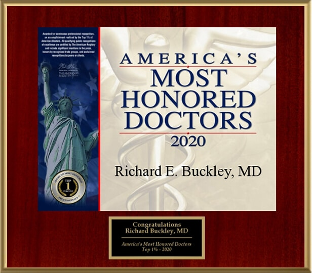 Dr. Richard E Buckley MD Vitals Award Americas Most Honored Doctors Five Years