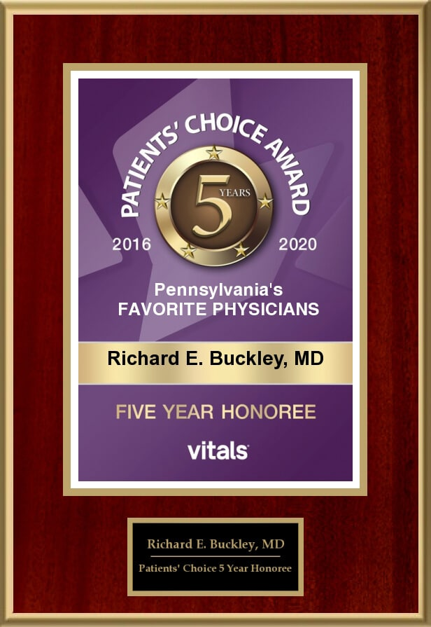 Dr. Richard E Buckley MD Vitals Award Patients Choice Five Years